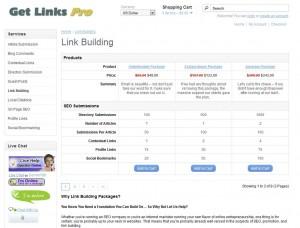 GetLinksPro.com Link Building Service home page full size image