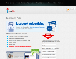 Ineedhits Facebook Advertisng service page full-size image