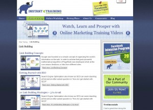 InstantETraining.com Link Building Tutorials home page full size image