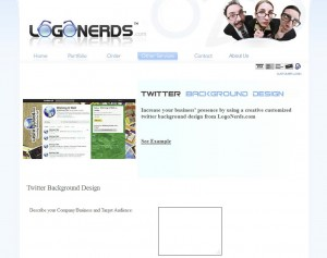 LogoNerds.com Twitter Background Design page full size image