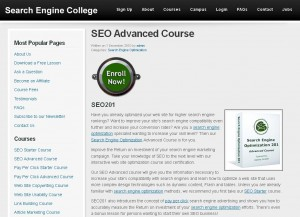 SearchEngineCollege.com Advanced SEO Training Course page full size image