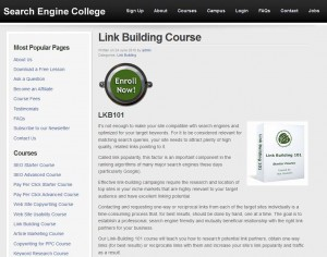 SearchEngingCollege.com Link Building Tutorial home page full size image