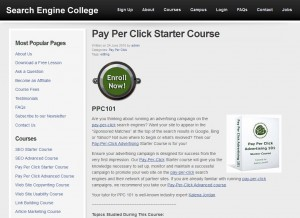 SearchEngineCollege.com SEM Tutorials page full size image