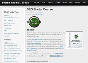 SearchEngineCollege.com SEO Training Course page full size image