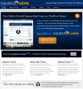 SqueezeTheme.com Wordpress Squeeze Theme Plugin home page full-size image