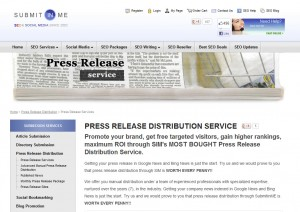 SubmitInMe.com Press Release Distribution service home page full size image