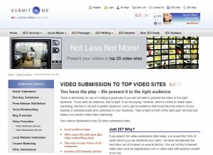SubmitInMe.com Video Submission Service page full size image