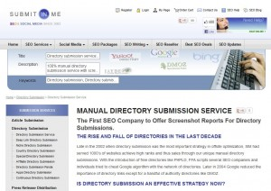 SubmitInMe.com Directory Submission Service home page full size image