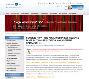 Submitinme.com Advanced Press Release Service page full-size image
