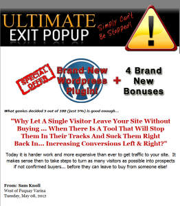 UltimateExitPop.com WP Exit Pop Plugin full-size home page image