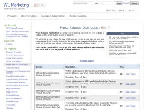 WLMarketing.com Press Release Distribution Service page full size image