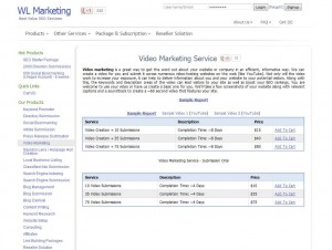 WLMarketing.com Video Submission Service page full size image