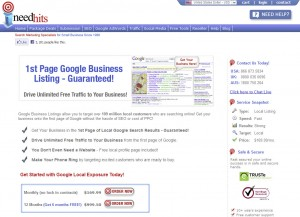 iNeedHits.com Google Places Optimization home page full size image