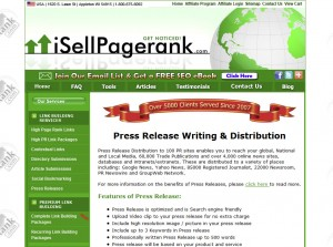 iSellPR.com Full Service Press Release home page full size image