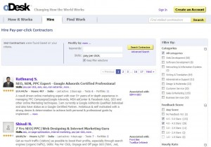 oDesk.com Adwords Management Service home page full size image