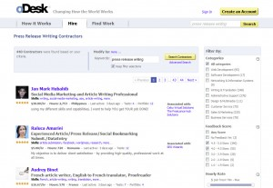 oDesk.com Press Release Writing home page full size image