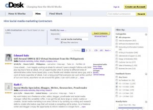 oDesk.com Social Media Marketing Management Service page full size image
