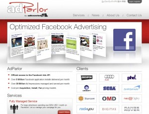 AdParlor.com FB Ads Management Software home page full size image