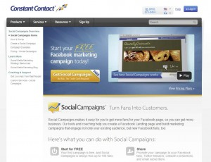 ConstantContact.com Fan Page Management App page full size image