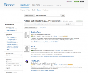 Elance.com Video Submission Contractors page full-size image