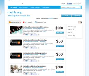 Freelancer.com Freemarket Mobile App service page full size image