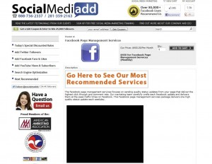 SocialMediAdd.com Fan Page Management Service page full size image