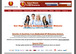 SubmitWebsite2Directory.com Directory Inclusion Service home page full-size image