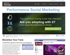 WebTrends.com Fan Page Management App page full size image