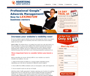 AdvertisingWebService.com Google Adwords Management service home page image