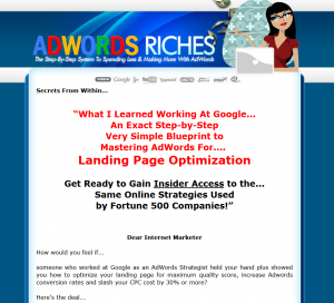 AdwordsRiches.com Google Adwords Tutorial home page full-size image