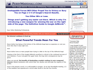 Perry Marshall's Definitive Guide to Google Adwords sales page full-size image