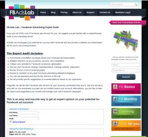 FBAdslab.com Audit service page full-size image