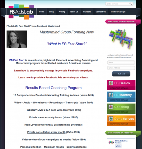 FBAdsLab.com Fast Start coaching program page full-size image