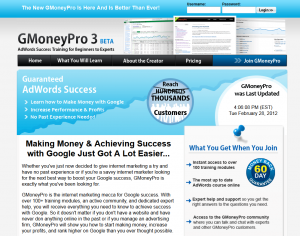 GMoneyPro.com Adwords training program home page full-size image