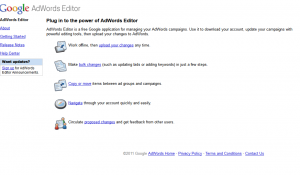 Google Adwords Editor home page full-size editor