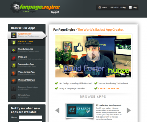 FanPageEngine.com Fan Page App Management home page full-size image
