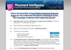PlacementIntelligence.com Adwords Software full-size home page image