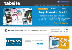 TabSite.com Fan Page Mangement platform home page full-size image