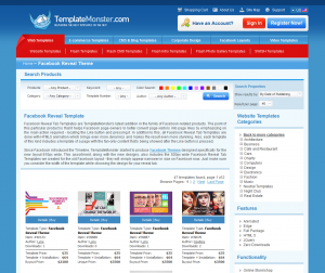 TemplateMonster.com Facebook Reveal Templates page full-size image