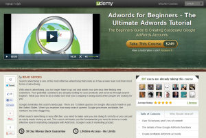 Adwords for Beginners - The Ultimate Adwords Tutorial Udemy Page full-size image