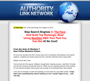 Authority Link Network blog network home page full size image