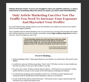 EasyArticleMarketing.com Article Marketing Training home page full-size image