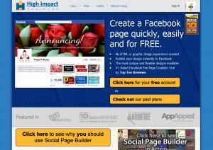 HighImpactDesigner.com Social Page Builder full-size web page image