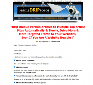 ArticleDripRobot.com article submission software full-size home page image