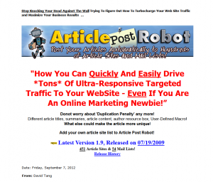 ArticlePostRobot.com article submission software home page full size image