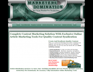 MarketersDomination.com Article Marketing Tools full-size home page image