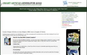 SmartArticleGenerator.com home page full-size image