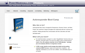 Perry Marshall's Autoresponder Bootcamp page full size image
