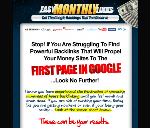 EasyMonthlyLinks.com link buiding tutorial full size home page image