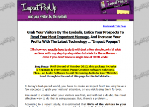 ImpactPopUp.net Pop Up Creation Software full-size home page image